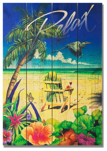 Palm Chair Indoor/outdoor Full Color Cedar Wall Art, 14X20 Throughout Tropical Outdoor Wall Art (View 12 of 20)