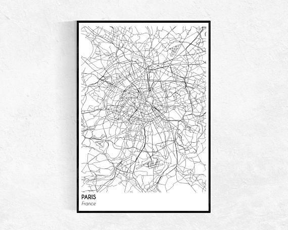 Paris City Map Print City Map Poster Paris Map Modern Inside Map Of Paris Wall Art (Image 10 of 20)