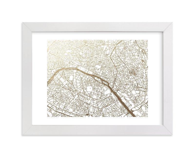 Paris Map Foil Pressed Wall Artalex Elko Design | Minted With Regard To Map Of Paris Wall Art (View 6 of 20)