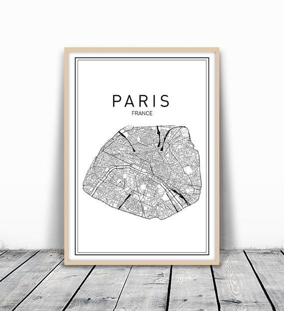 Paris Map Print City Map Wall Art Paris Map Art France Intended For Map Of Paris Wall Art (Photo 2 of 20)