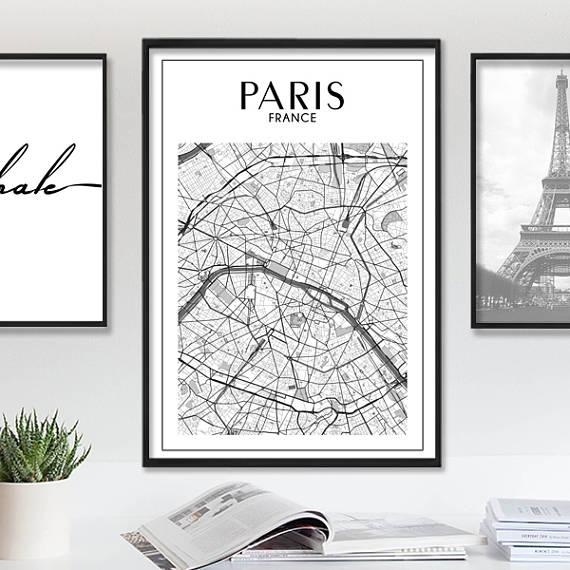 Paris Map Print Paris Print Paris Map Paris Wall Art Map Pertaining To Map Of Paris Wall Art (View 12 of 20)