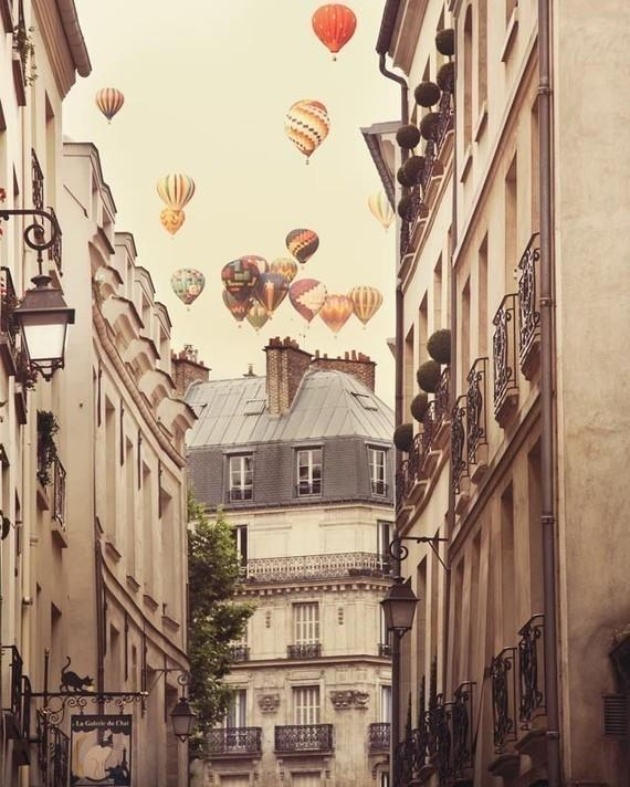 Paris Photography Large Wall Art Print Hot Air Balloons Over With Parisian Wall Art (View 11 of 20)