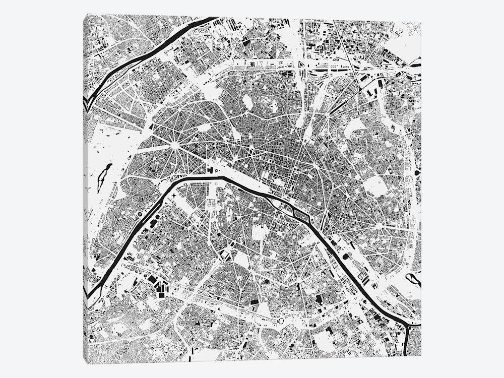 Paris Urban Map (White) Canvas Arturbanmap | Icanvas In Map Of Paris Wall Art (Image 15 of 20)