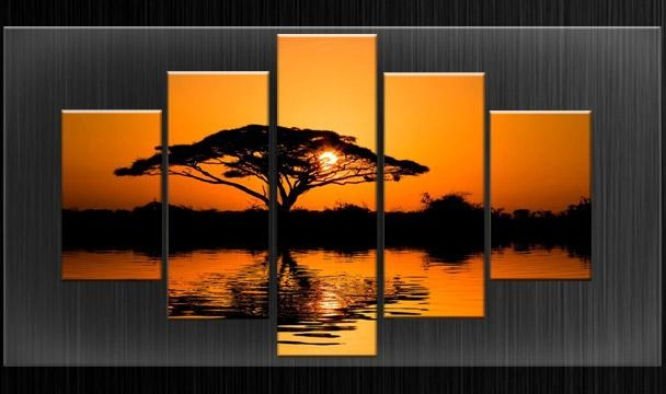 Parted Canvas Wall Art Sunset Tree Split Multi Panel Set Framed Within Split Wall Art (Image 11 of 20)