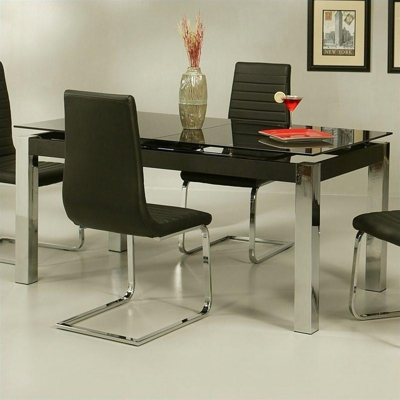 Pastel Furniture Monaco Rectangular Dining Table In Black Glass For Most Recent Monaco Dining Sets (View 6 of 20)