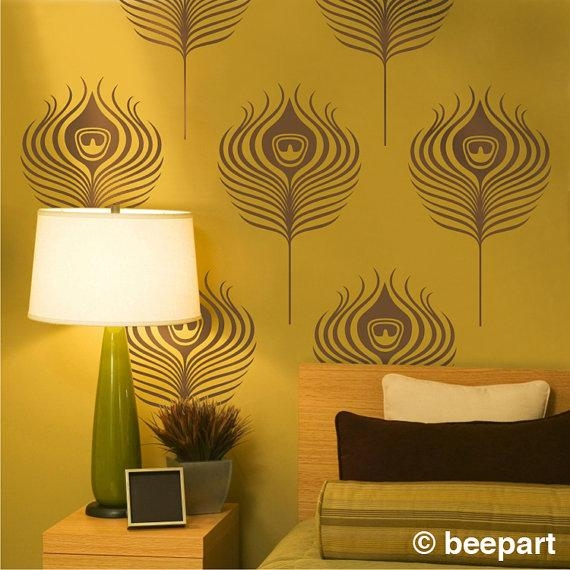 Peacock Feathers Wall Decals Art Deco Vinyl Wall Art Set Intended For Art Deco Wall Decals (Image 17 of 20)