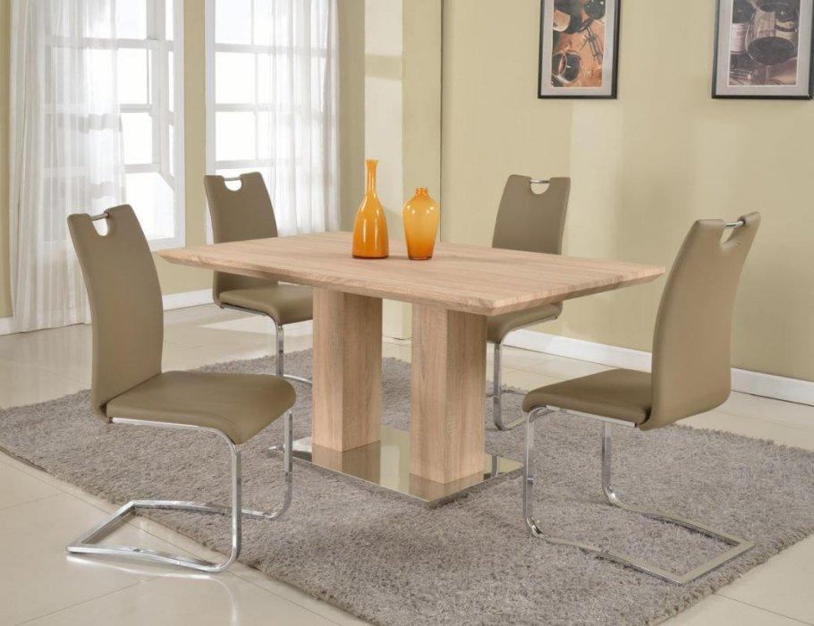 Pedestal Base Light Oak Dining Table Detroit Michigan Chjos With Regard To 2017 Oak Dining Tables (Image 17 of 20)