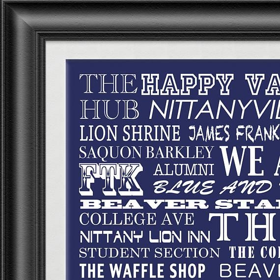 Penn State University Nittany Lions Subway Scroll Art Print Inside Penn State Wall Art (View 11 of 20)