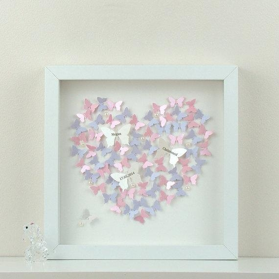 Personalised Wall Art With 3D Paper Butterflies (Image 12 of 20)