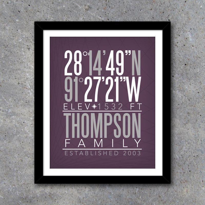 Personalized Family Home Coordinates Custom Wall Art Regarding Personalized Family Wall Art (Image 12 of 20)