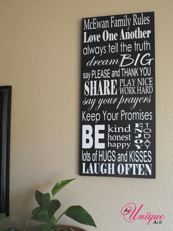 Personalized Family Rules Sign 10X23 Throughout Personalized Family Rules Wall Art (View 1 of 20)