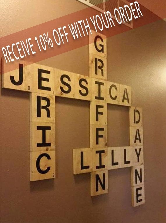 Personalized Scrabble Wall Art .. Family Names (View 14 of 20)