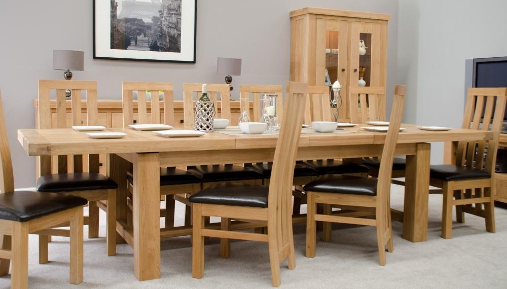 Phoenix Solid Oak Furniture Extra Large Grand Extending Dining Table In Current Oak Extending Dining Sets (Image 19 of 20)