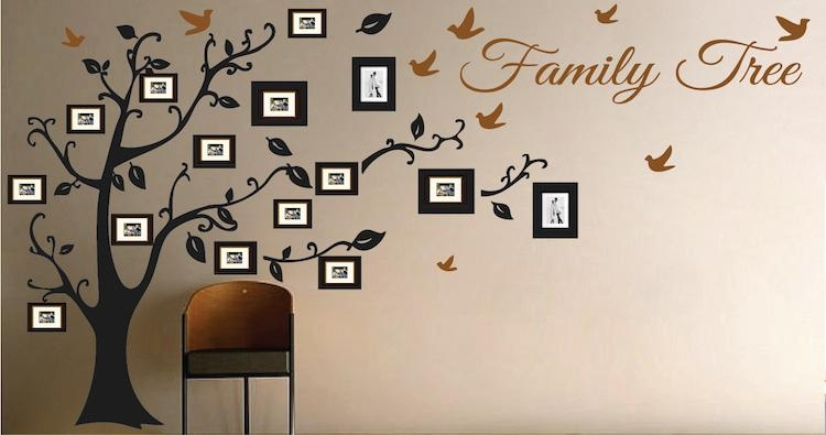 Picture Frame Family Tree Wall Art, Tree Decals | Trendy Wall Designs Pertaining To Family Wall Art Picture Frames (View 7 of 20)