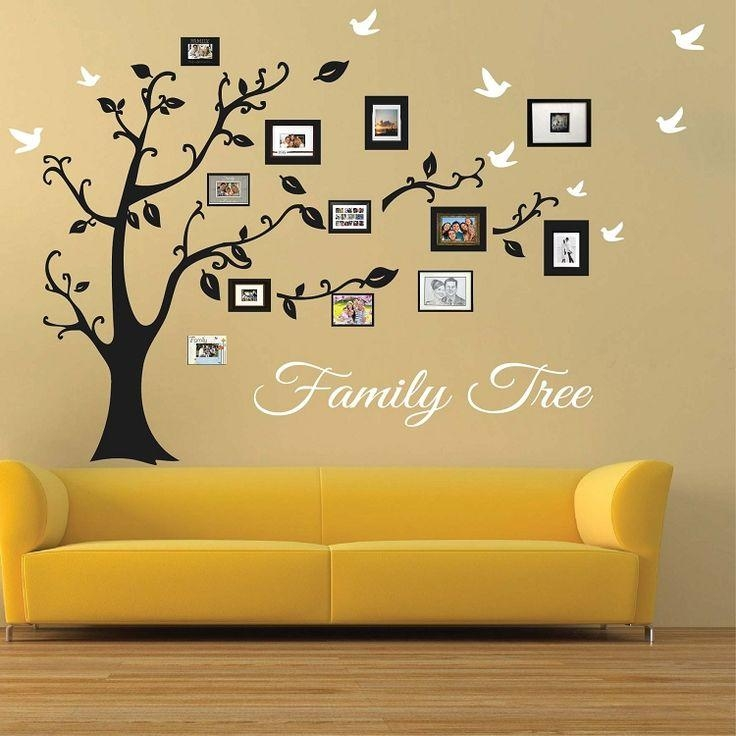 Picture Frame Family Tree Wall Art | Tree Wall Art, Tree Decals Within Wall Art Designs (Image 12 of 20)