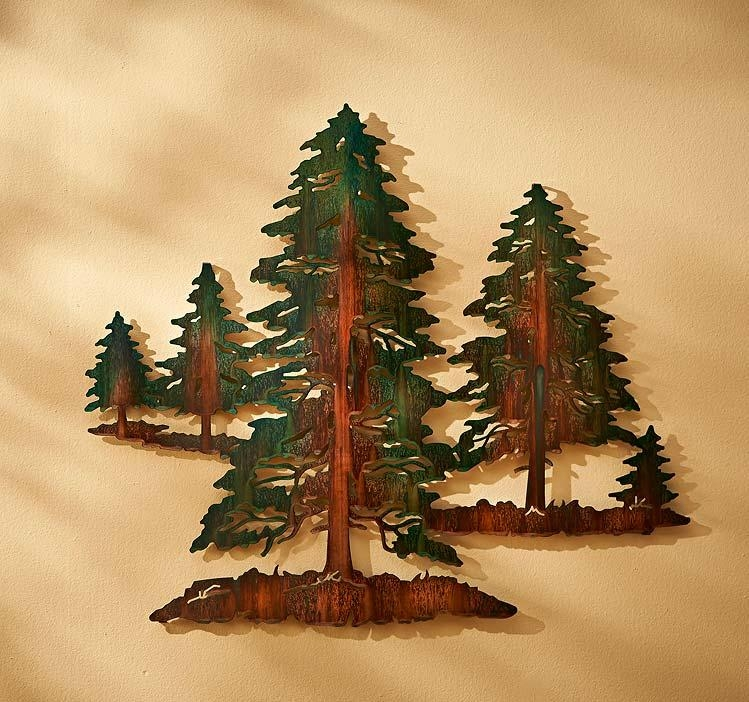 Pine Tree Metal Wall Art | Wild Wings With Regard To Metal Pine Tree Wall Art (View 11 of 20)