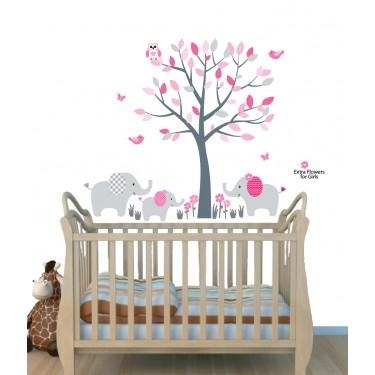 Pink Jungle Tree Wall Art For Nursery With Elephant Wall Decor For With Regard To Elephant Wall Art For Nursery (View 8 of 20)