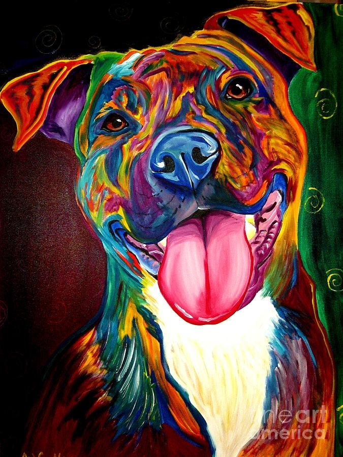 Pit Bull – Olive Paintingalicia Vannoy Call For Pitbull Wall Art (View 2 of 20)