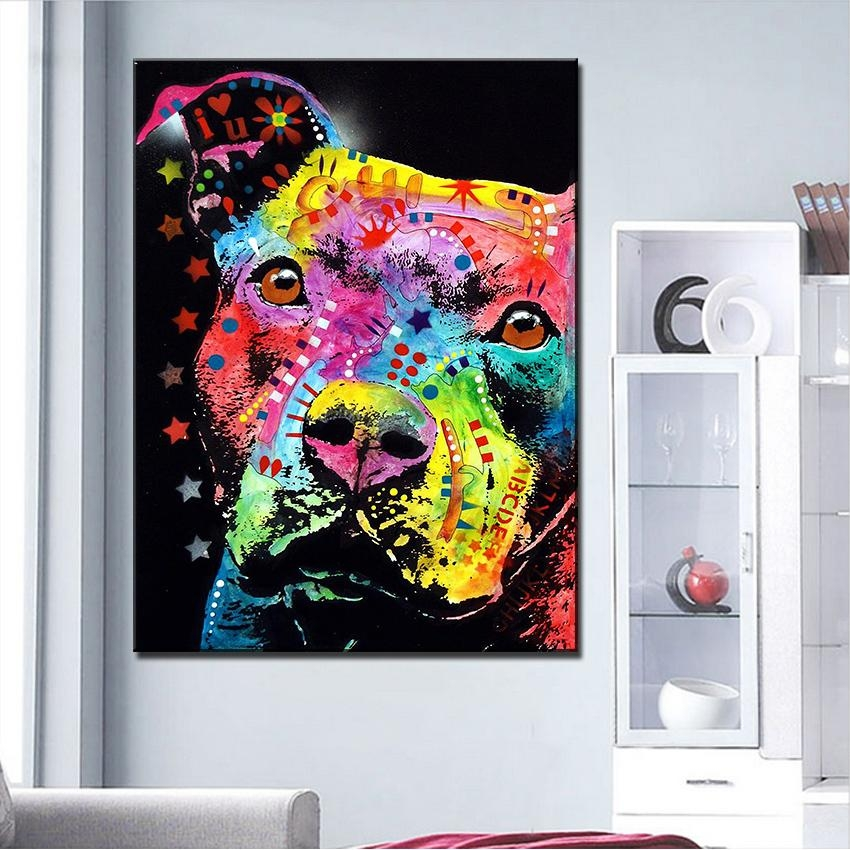Pitbull Wall Art Promotion Shop For Promotional Pitbull Wall Art Pertaining To Pitbull Wall Art (View 11 of 20)