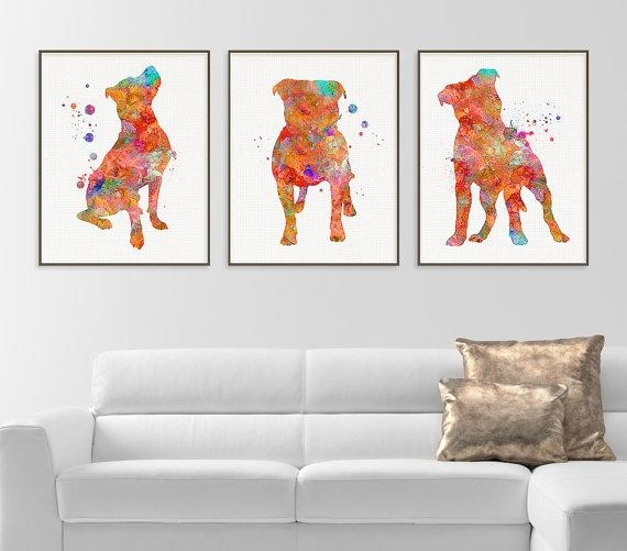 Pitbull Watercolor Art Print Pitbull Painting Set Of 3 Inside Pitbull Wall Art (Image 16 of 20)