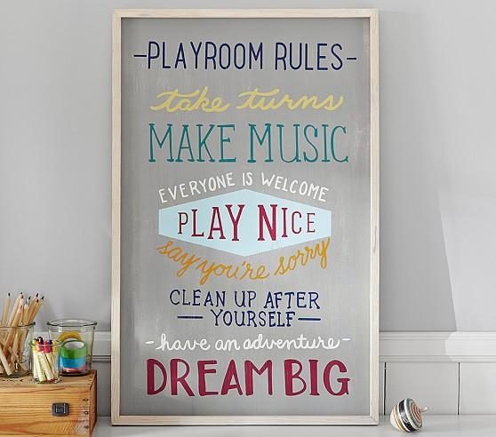 Playroom Rules Art | Pottery Barn Kids Intended For Playroom Rules Wall Art (Image 12 of 20)