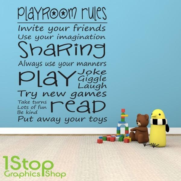 Playroom Rules Wall Sticker Quote – Bedroom Girls Boys Wall Art For Playroom Rules Wall Art (Image 16 of 20)