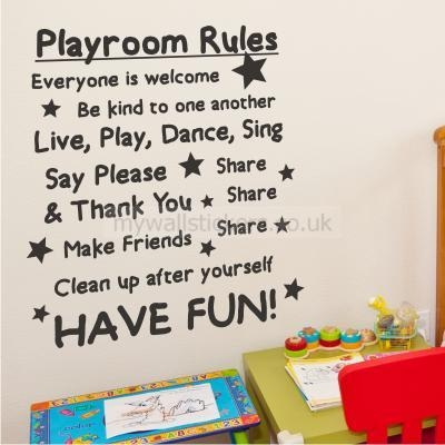 Playroom Rules Wall Sticker Within Playroom Rules Wall Art (Image 17 of 20)
