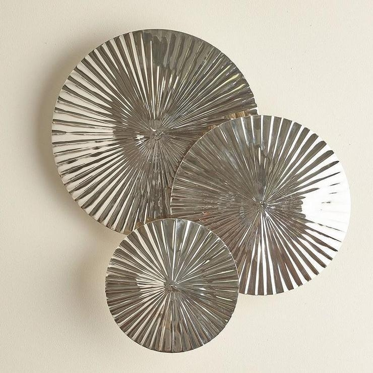 Pleated Discs Wall Decor Set Inside Decorative Metal Disc Wall Art (Image 16 of 20)