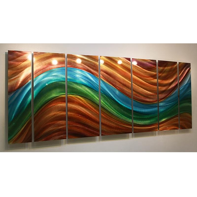 Poetry Of Earth – Blue, Green & Orange Abstract Metal Painting Pertaining To Orange And Blue Wall Art (Image 16 of 20)