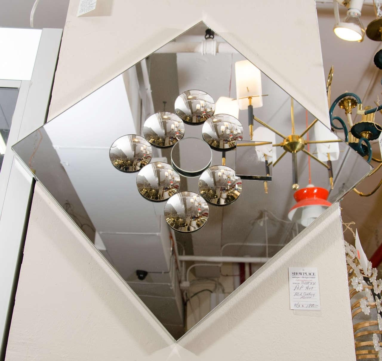 Pop Art Diamond Shaped Sculptural Wall Mirror With Small Convex For Small Diamond Shaped Mirrors (Image 11 of 20)