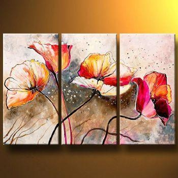 Poppies Lashedthe Wind Modern Canvas Art Wall Decor Floral Oil Pertaining To Floral Wall Art Canvas (Image 14 of 20)