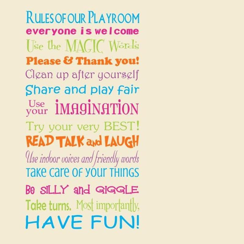 Popular Playroom Rules Wall Art Buy Cheap Playroom Rules Wall Art With Regard To Playroom Rules Wall Art (View 17 of 20)