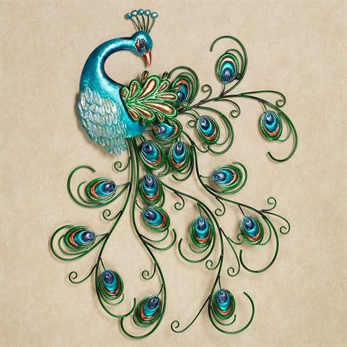 Pretty Peacock Indoor Outdoor Metal Wall Art In Teal Metal Wall Art (Image 11 of 20)