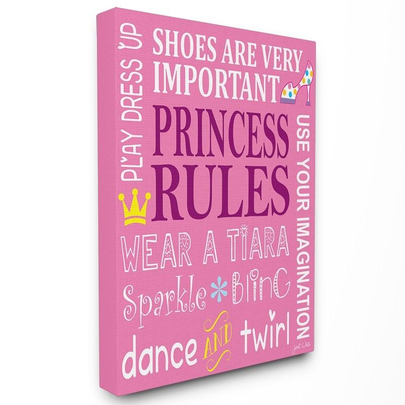 Princess Rules Pink Typography Canvas Wall Art – Rosenberryrooms Pertaining To Typography Canvas Wall Art (View 10 of 20)