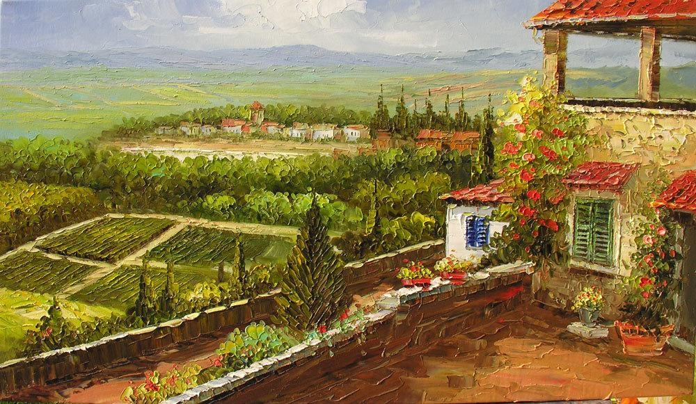 Print On Canvas Of Original Landscape Paintingmarchella In Italian Village Wall Art (Image 16 of 20)