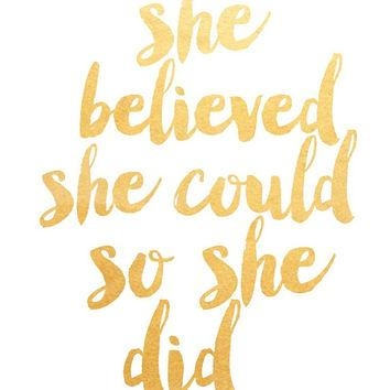 Printable Art Inspirational Print She From Paperstormprints On Within She Believed She Could So She Did Wall Art (Image 12 of 20)