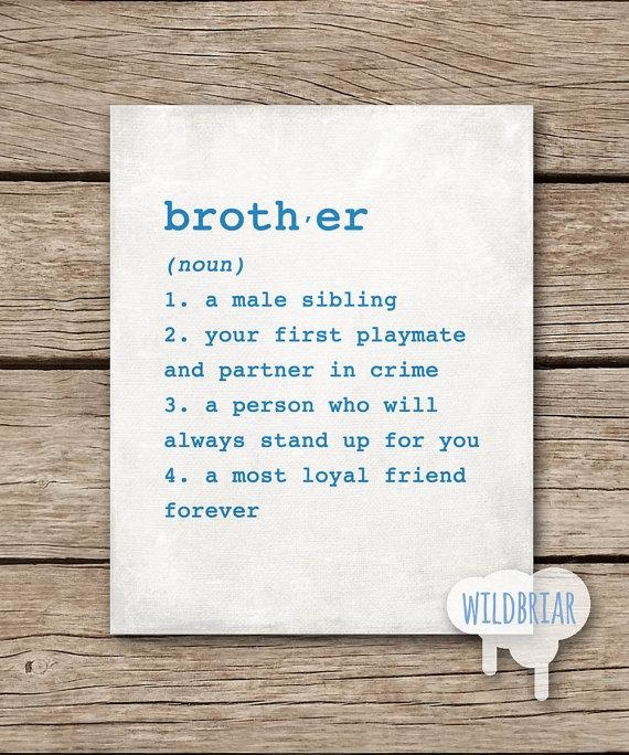 Printable Wall Art Brother Dictionary Definition 8X10 Boys Regarding Brother Definition Wall Art (Image 16 of 20)