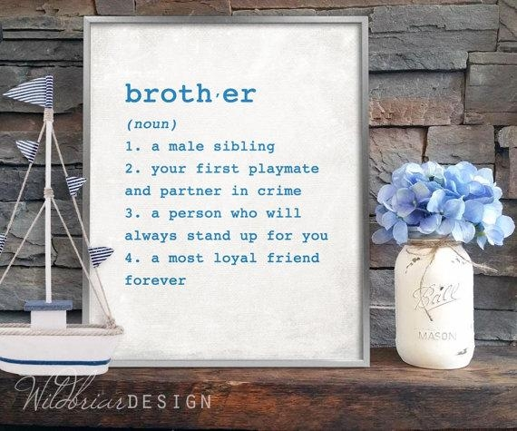 Printable Wall Art Brother Dictionary Definition 8X10 Boys Throughout Brother Definition Wall Art (Image 17 of 20)