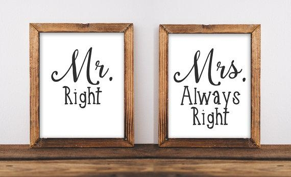 Printable Wall Art Mr Right Mrs Always Right Quote Home Inside Mr And Mrs Wall Art (Image 17 of 20)