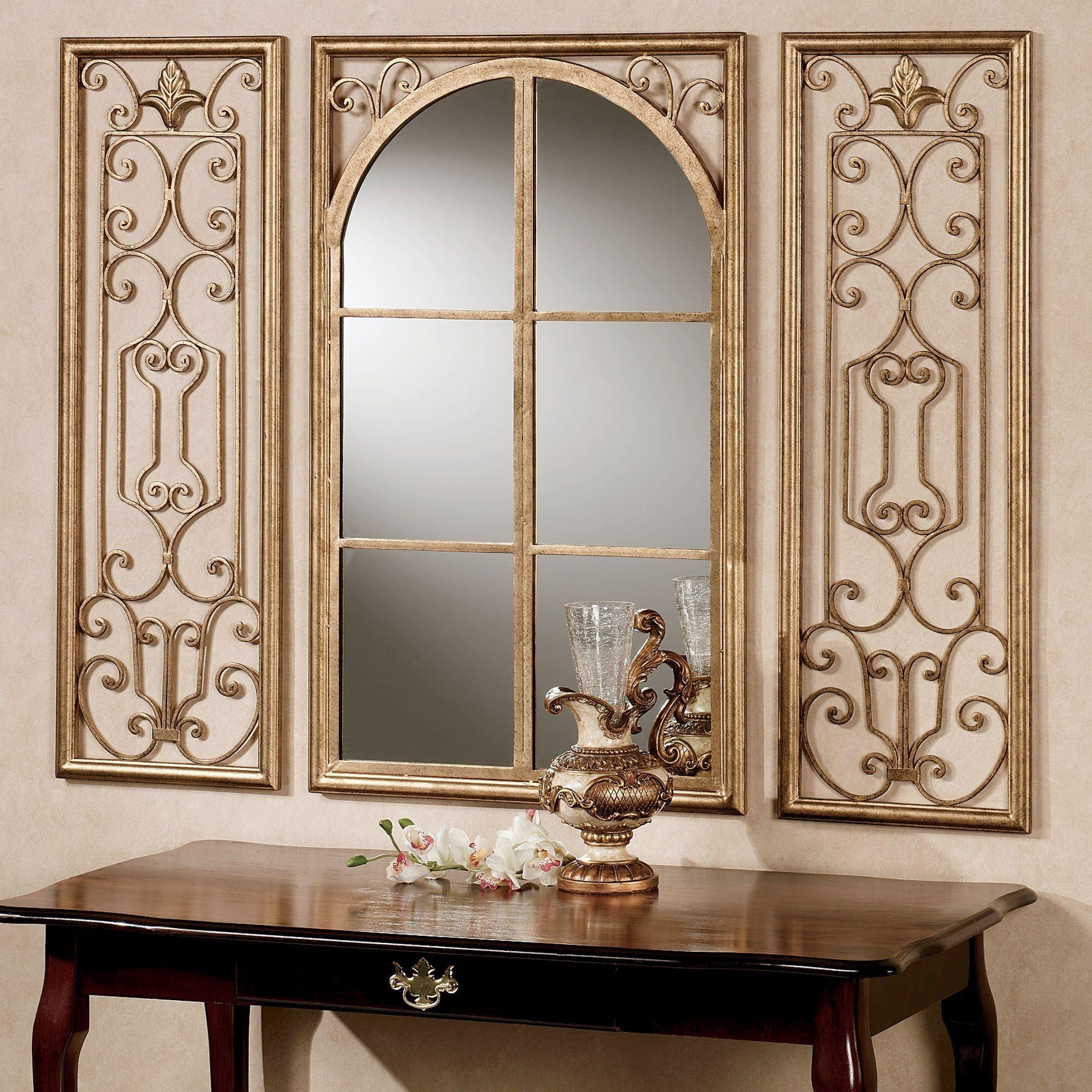 Provence Antique Gold Finish Wall Mirror Set Pertaining To Large Fancy Wall Mirrors (Image 15 of 20)