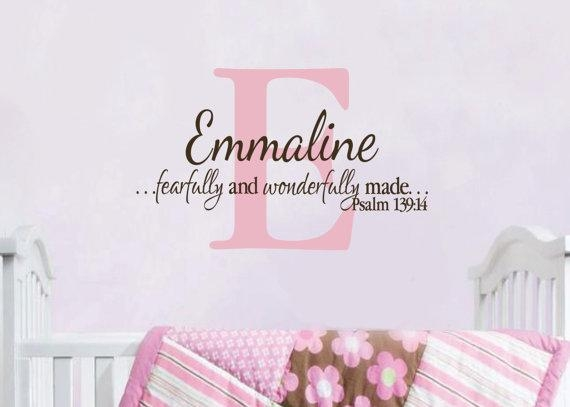 Psalm 139 :14 Personalized Monogram With Name I Am Fearfully Throughout Fearfully And Wonderfully Made Wall Art (Image 15 of 20)