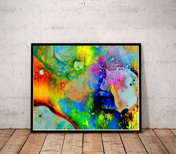Psychedelic Art / Abstract Painting Print / Colorful Wall Art In Colorful Abstract Wall Art (Image 17 of 20)