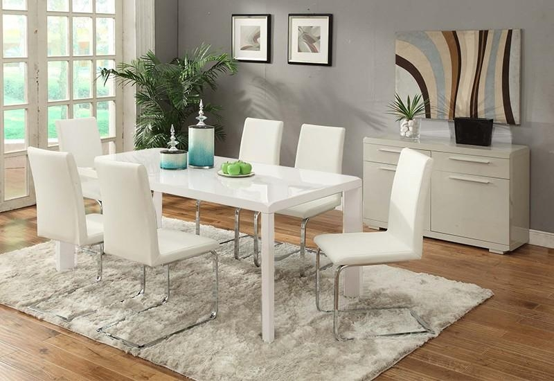 Pure 7Pcs High Gloss Dining Suite – Sydney Central Furniture With Most Up To Date White Dining Suites (Image 18 of 20)