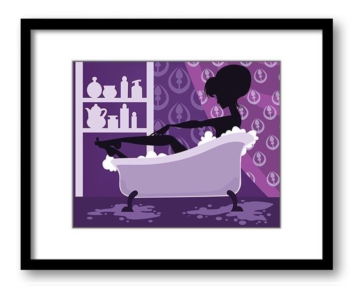 Purple Bathroom Decor Bathroom Print Silhouette Girl Bathtub Throughout Purple Bathroom Wall Art (View 3 of 20)