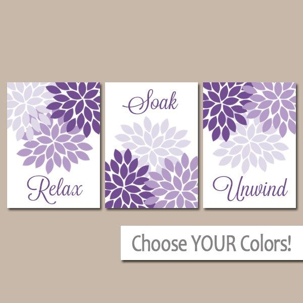 Purple Bathroom Wall Art Bathroom Decor Canvas Or Prints Throughout Purple Bathroom Wall Art (Image 18 of 20)
