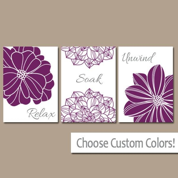 Purple Bathroom Wall Art Canvas Or Prints Bathroom Decor Pertaining To Purple Bathroom Wall Art (Image 19 of 20)