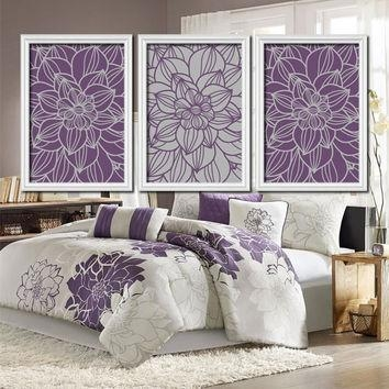 Purple Gray Bedroom Wall Art Bathroom From Trm Design | Wall Art Inside Purple Wall Art For Bedroom (Image 14 of 20)
