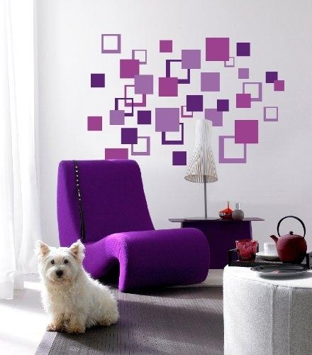 Purple Square Pattern Wall Art – Peel N Stick Must Have Items For With Pattern Wall Art (Image 17 of 20)