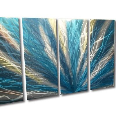 Radiance Teal 36X79 – Metal Wall Art Abstract Sculpture Modern Inside Teal Metal Wall Art (Image 12 of 20)