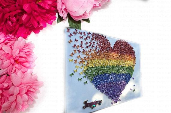 Rainbow Butterfly Rainbow Heart Butterfly Heart Wall Art With Rainbow Butterfly Wall Art (Image 13 of 20)
